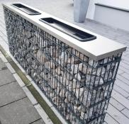 Gabione plus Edelstahl, geplant und gebaut von der Edelstahlschlosserei Nappenfeld aus Mühlheim